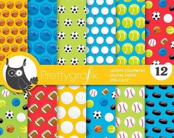 80% OFF SALE Sports balls digital paper, commercial use, equipment scrapbook papers, background  - PS866