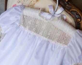 White Square Yoke Dress with Ecru French Laces