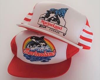 Vintage Lot (2) Marine Land Snapback Hats VTG