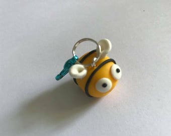 bumble bee knitting crochet progress keeper rainbow lobster clasp charm fimo clay stitch marker