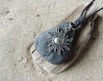 Handmade Natural Surf Tumbled Bach Stone Necklace Brilliant Sun Charm Cotton