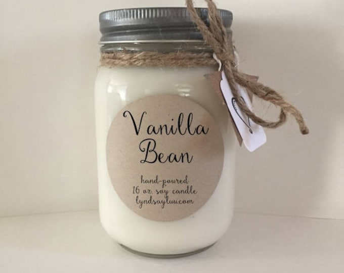 Handmade, Hand Poured, all Natural, Vanilla Bean, 100% Soy Candle in 16 oz. Glass Mason Jar with Cotton Wick