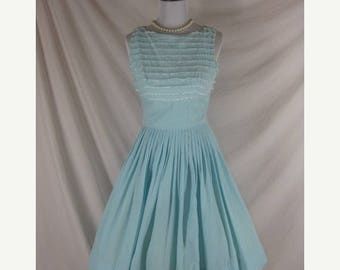 Summer sale Vintage 50s 60s Blue Cotton n Lace Full Skirt Party Dress W22