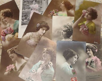 Lot of 10 Antique Vintage  French Lady Ladies POSTCARDS some Colored Tinted Vintage Paper Ephemera