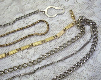 Vintage Lot Pocket Watch Chains...(SIX)Watch Chain Salvage Supplies...Gold/Silver Watch Chains....Revintage...Repair...Assemblage Art