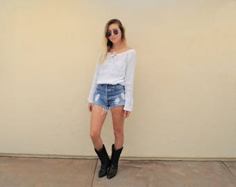 White Long Sleeve Light Weight Peasant Top