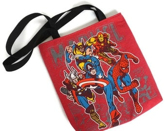 Marvel Bag • Upcycled Tshirt Tote Bag • Superhero Bag • Shoulder Bag • Superhero Gift