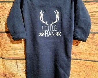 Custom Baby Boy Infant Gown ~ Little Man with Antlers ~ Monogrammed, Embroidered