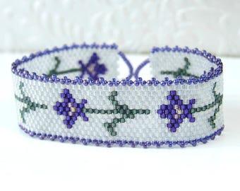 Purple Iris Bracelet Floral Bracelet Flower Jewelry, Beadwoven Seed Bead Bracelet Sterling Silver 7 Inch Bracelet, Nature Gifts For Her