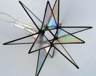 Stained Glass Medium Tree Topper, Clear Iridescent Glass, Moravian Star, Star of Bethlehem, Tree Top Decoration, X'mas Tree Ornament, Gift