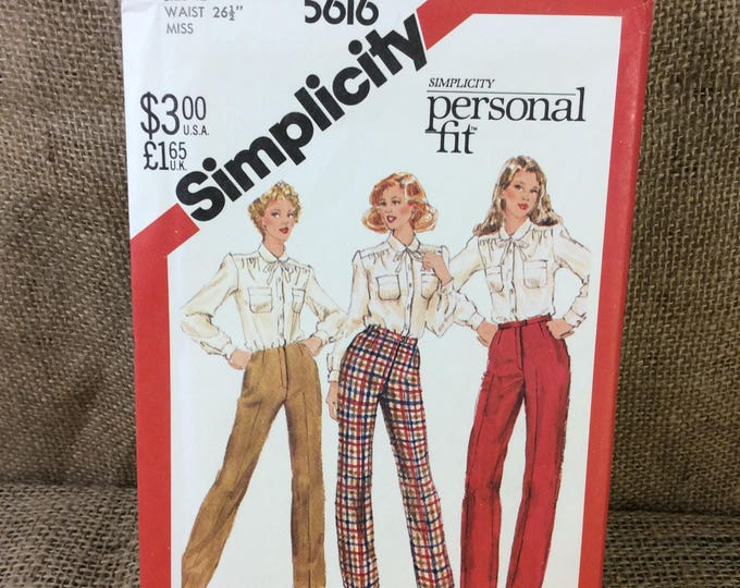 Vintage pattern Simplicity 5616 from 1982, 2.00 US shipping, misses proportioned pants pattern, 1980's pants sewing pattern, great patterns