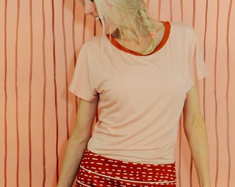 "Kimono T-Shirt ""Pink Brown"" blue cream"