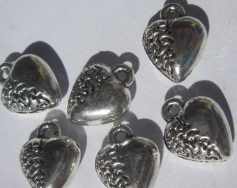 4 charms heart shaped silver 12mm-(2000)