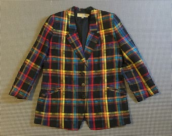 1990's, linen/rayon, blazer, in black and colorful plaid, by Michi Moon for Sanyo, Women's size 12