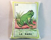 La Rana Frog Loteria Pillow Cover circa 1920 - Mexican Loteria, Day of the Dead, Dia de los Muertos, Mexican Loteria Rana Frog Animal Pillow