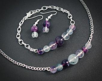 Amethyst Fluorite Nebula Set - Necklace, Bracelet, and Earrings: Silver // Planet Earth Moon Stars Jewelry // Science Space Travel Nerd