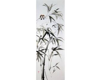 Japanese Ink Painting Ink art Japanese art Asian art Sumi-e Suibokuga Bird painting  Large art 51x18 inch Bamboo in Wind