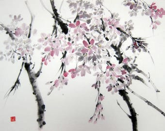 Cherry blossom Japanese Ink Painting Japanese  Watercolor Sumi-e Ink Painting on paper  Asian art Suibokuga  Brush painting zen art 14x17'