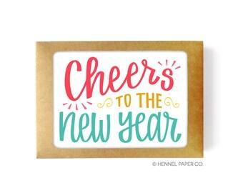 New Years Card Set - Boxed Set - Holiday Card Set - Happy New Year Card  Holiday Card Pack  Cheers to the New Year 2018  New Years Card Pack