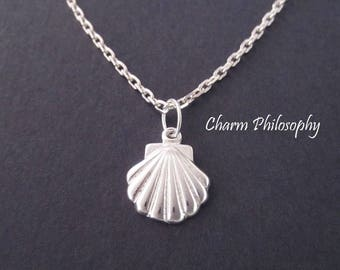 Clam Shell Necklace - Tiny Clam Shell Charm Pendant - 925 Sterling Silver Jewelry - Minimalist Necklace
