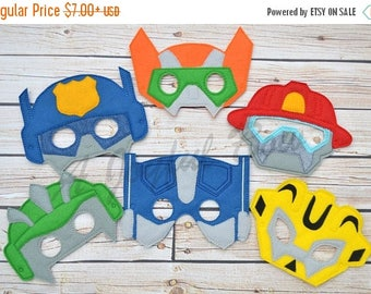 SALE EXTENDED  6/23 Rescue bot inspired dress up and party favor masks, transformers, transformer birthday, rescue bot birthday, rescue bot