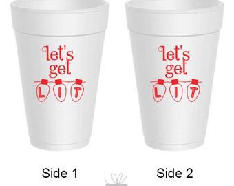 Christmas Let's Get Lit Styrofoam Cups, 10 count