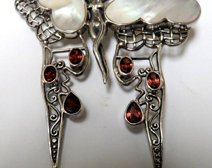 Sterling Silver Mother Pearl & Garnet Brooch/Pendant