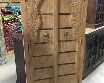 Antique Floral Carved Arched style Cabinet Chest Tuscan Style Furniture Armoire Iron, RUSTIC LUXE