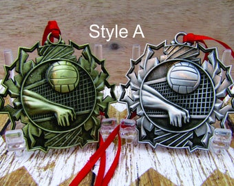 Volleyball Christmas Ornament, Volleyball Coach Gift, Stocking Stuffer Tree Decoration, Engraved Sports,FREE Personalizing and FREE Shipping