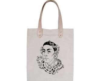 Tote Bag With leather straps - Screenprint Over Cotton Canvas Tote Bag HP Lovecraft