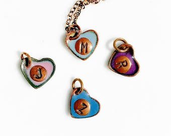 Multiple Hearts Charm Necklace, Custom Hand Stamped, Initial Necklace with Birthstone, Gift for Sister Aunt Mom, Initial Jewelry for Women