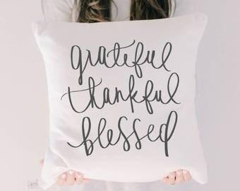 Throw Pillow - Grateful Thankful Blessed, calligraphy, fall home decor, housewarming gift, cushion cover, throw pillow, seasonal pillow