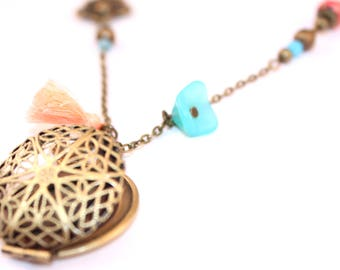 Necklace half long Locket photo sky blue and coral
