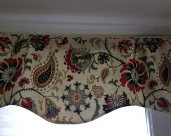 Shaped Valance,  Shaped Floral Valance, Waverly Window Treatment, Red/Black Floral Valance