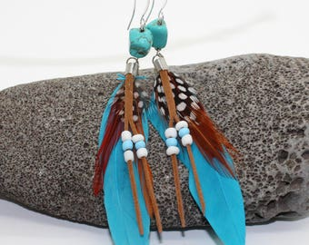 Blue Feather and Beaded Earrings - Feather Earrings, Long Earrings, Feather Earrings, White Feather Earrings