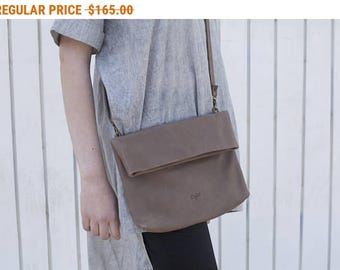 Sale, Fold Over Bag / Clutch, Leather Cross Body Bag, Taupe Small Leather Bag, Small Handbag, Shoulder Bag - Small Taupe Camden