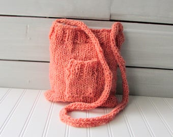 Hand Knit Purse Peach Cross Body Purse Ladies Purse Teen Purse