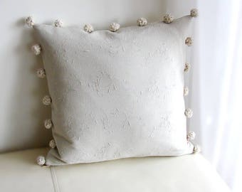 Decorative Linen Pillow with crochet pompoms, Patchwork Pillow, Natural cushion cover, Pillowcases 46x46 cm, Complete Rustic Cushion