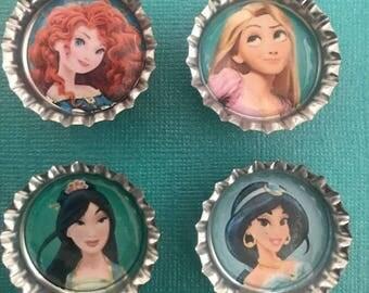 Set of 4 assorted Disney Princess Bottle Cap Magnets