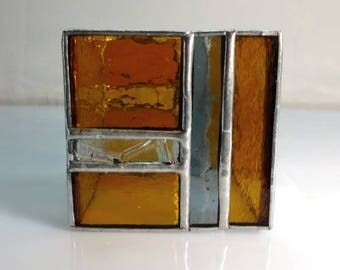 """Mini Candle in stained glass """"Tiffany"""" - amber, gray and transparent glass"""
