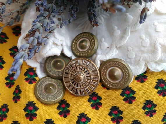 Shield Buttons Antique 1800's French Brass Buttons Set of 5 Rare Victorian Buttons Collectible Decorate Sewing Jewelry #sophieladydeparis