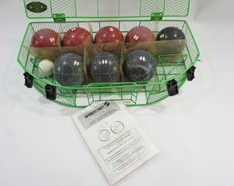 Bocce SPORTSCRAFT Lawn Bowling, Bocce w/ Case, Summer Outdoor Games, Yard Party Games, Vintage Bocce Set, Square Round Scoring Balls