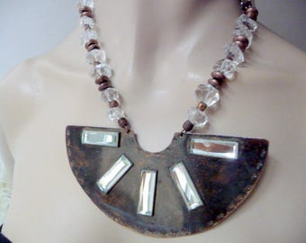 Ethnic copper bib necklace
