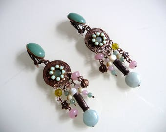 Earrings ethnic Bohemian green spring clip