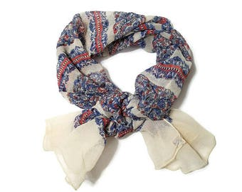Echo Scarf Floral Stripes Cloisonne Red White Blue  ECHO Pure Silk Hand Rolled Accessory