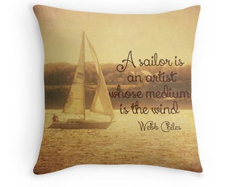 Golden Sailing, Sailboat, Photo Throw Pillow Cover, Home Decor, Rhode Island, Nautical, Beach, Sunset, cabin, lake house decor, sailing