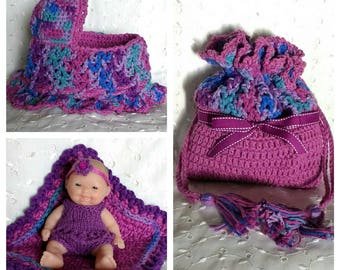 Purple Cradle Purse with Berenguer doll