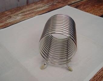 Mid Century Silver Tone Letter Holder, Card Holder, Mail Holder, Desk Organizer, Round Cylinder Tube