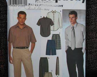 Simplicity 9469 sewing pattern- men'sSHIRTS PANTS SHORTS Ties - Size 38-40-42-44