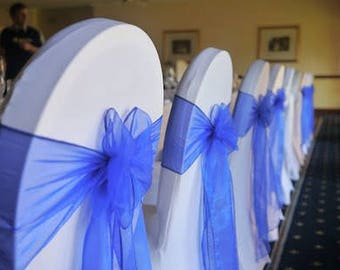 50x Royal Blue Chair Sashes Bow Cover for Wedding Engagement Event Party Reception Ceremony Bouquet